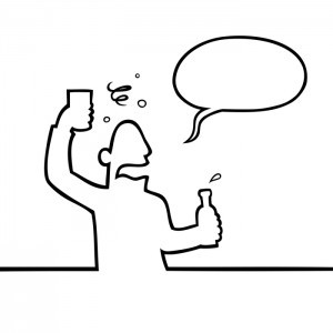 Black line art illustration of a drunk man with a beverage.