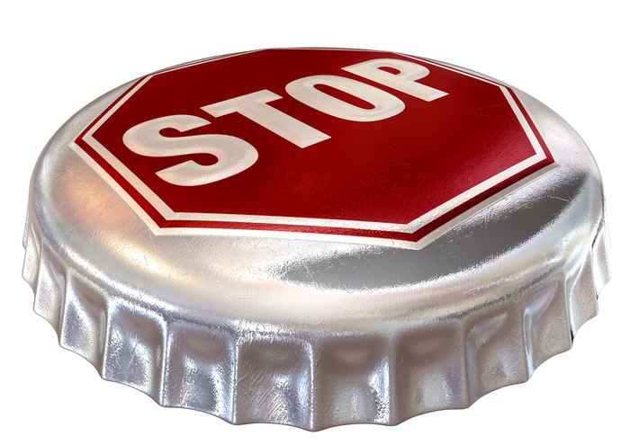 A regular bottle cap with a stop sign in red embossed on the top representing bandwidth cap or alcohol limits on an isolated background
